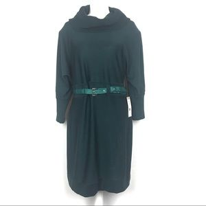 Eliza J Spruce Green Cowl Neck Knit Sweater Dress